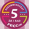 Rekommenderat 5 år i rad Reco.se